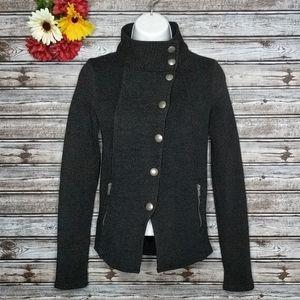 Zara Black Wool Blend Asymmetrical Button Pea Coat